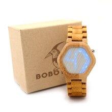 БОБО ПТИЦА E03 Мужчины СВЕТОДИОДНЫЕ Часы Гексагональной Цифровые Часы Mujer с 100% Бамбука Материала, как Подарок для Друзей Подарок коробка