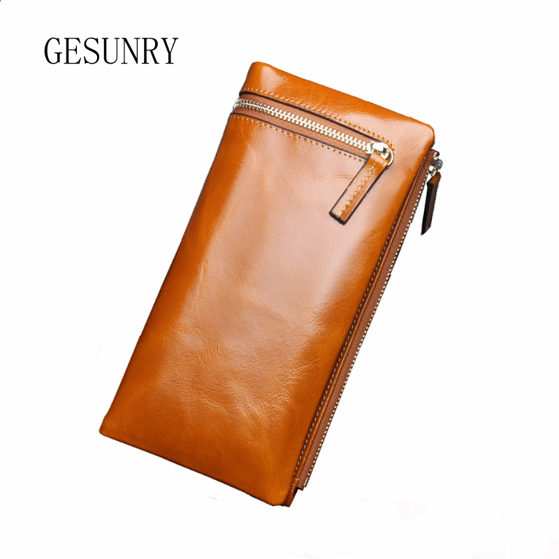 ФОТО GESUNRY Hot Sale Genuine Leather Wallet Women Fashion Real Cowhide Wallet Long Design Clutch Female Purse Bag Portefeuille Femme