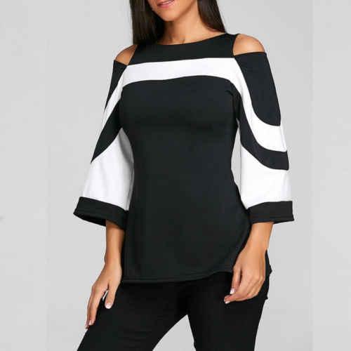 Женская Свободная Повседневная рубашка с длинными расклешенными рукавами из хлопка черного цвета с открытыми плечами женская блузка