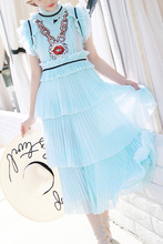 Hot fashion sequin ruffled layered dress 2018 summer runways ruffles cake chiffon dress D210