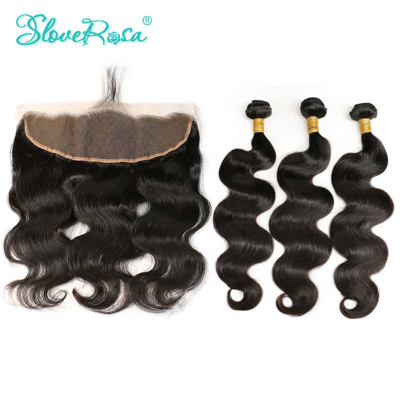Body Wave Human Hair Bundles With Closure Frontal Free Part 100% Remy Human Hair 3 Bundles With Lace Frontal Slove Rosa Product