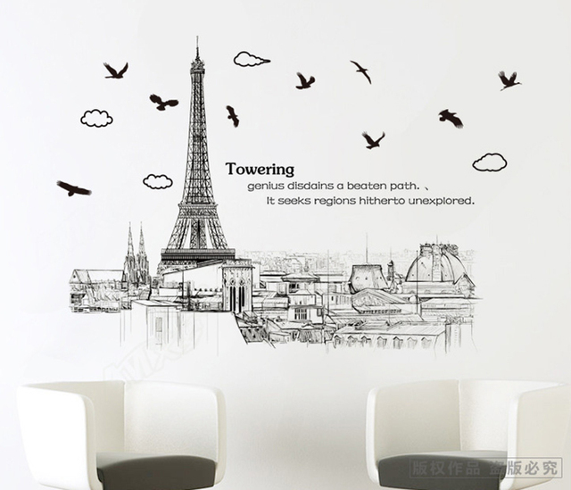 new eiffel tower sketch scenery large wall stickers home decor