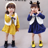 Everweekend Girls Dot Ruffles Party Dress with Fur Vest 2pcs Sets Candy Color Autumn Winter Baby Clothing Vintage Korea Clothes
