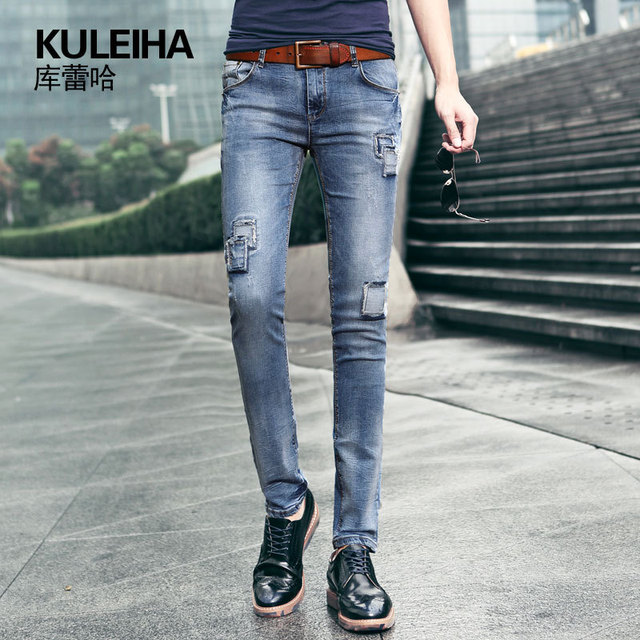 NEW 2015 summer style ripped jeans men fashion slim patch elastic famous  brand trousers 7f63d3dd6996