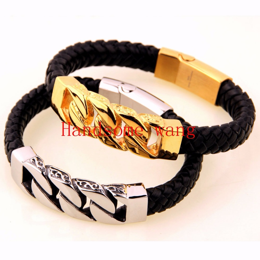 8 46 11mm 47g High Quality 316L Stainless Steel Silver Gold Curb Cuban Chain Black Genuine