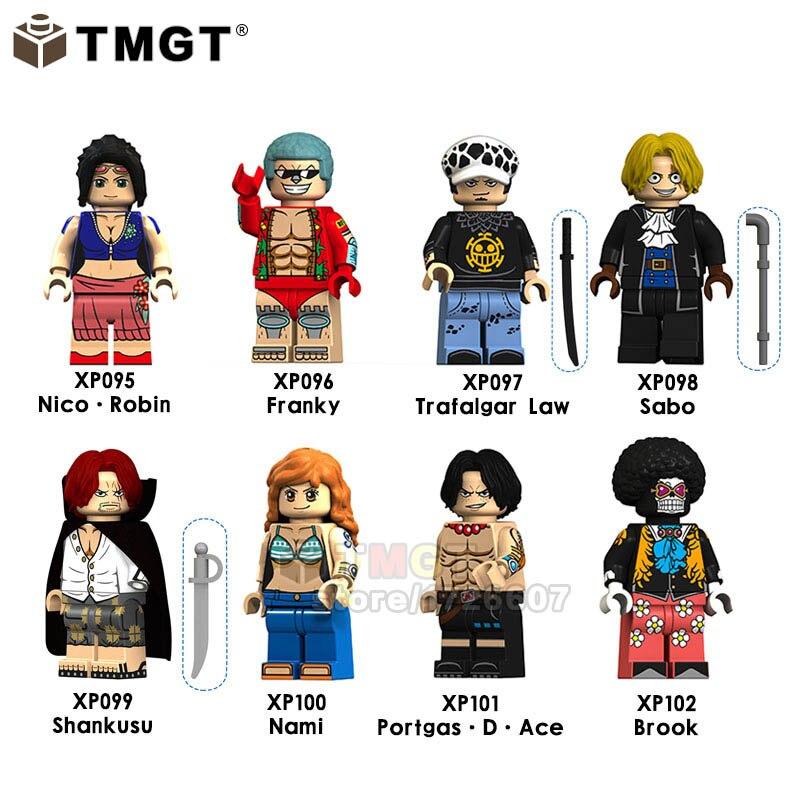 Blocks 8pcs/lot One Piece Anime Figures Robin Franky Sabo Trafalgar Law Shankusu Bricks Model Building Blocks Toy For Children Legoings