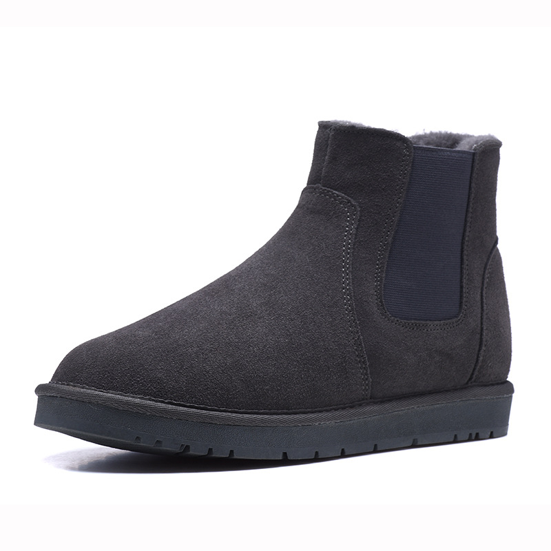 Hommes Cheville marron Véritable D'hiver bleu Bottes Noir Cuir Bout gris Rond Hiver Chaussures 411Tq6xw