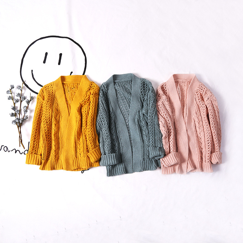 ФОТО Hu sunshine wholesales 2017 Wholesale spring fashion new girls cotton knitted hollow sweater childrens coats
