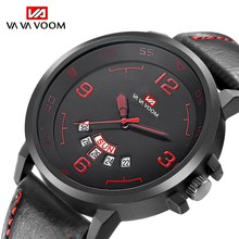 Fashion Sport Waterproof Watch Mens Watches Top Luxury Brand Leather Quartz Military Watch Men Dispaly Date Week Clock Male 2019 mens watches top brand luxury stainless steel watch date week waterproof men quartz watch business male clock diamond horloge