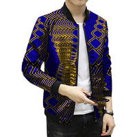 Personal Tailor African Dashiki Clothes New Pattern Print Men African Jacket Stand Collar Print Coats Patchwork