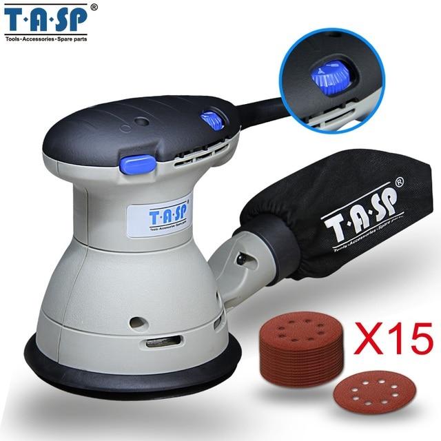 TASP 350 W переменная скорость Эксцентриковая шлифовальная машина роторная машина шлифовальная машина + 1 пылезащитный мешок и 15 наждачная бумага-MRS350Q