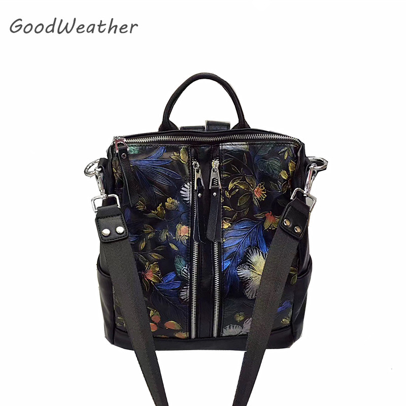2017 Fashion small 3D flower print backpack for women high quality black leather travel backpacks female