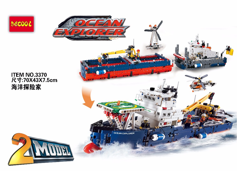 2 Model Decool 3370 1342pcs Ocean Explorer Model Building Kits Blocks Bricks Toys <font><b>42064</b></font> FIT for <font><b>LEGO</b></font> Technic LPS for minifigure image