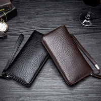 Business Men Wallets Vertical Long Leather Purse Black Coffee Clutch Bags Ostrich Pattern Genuine Leather Mobile Phone Bag
