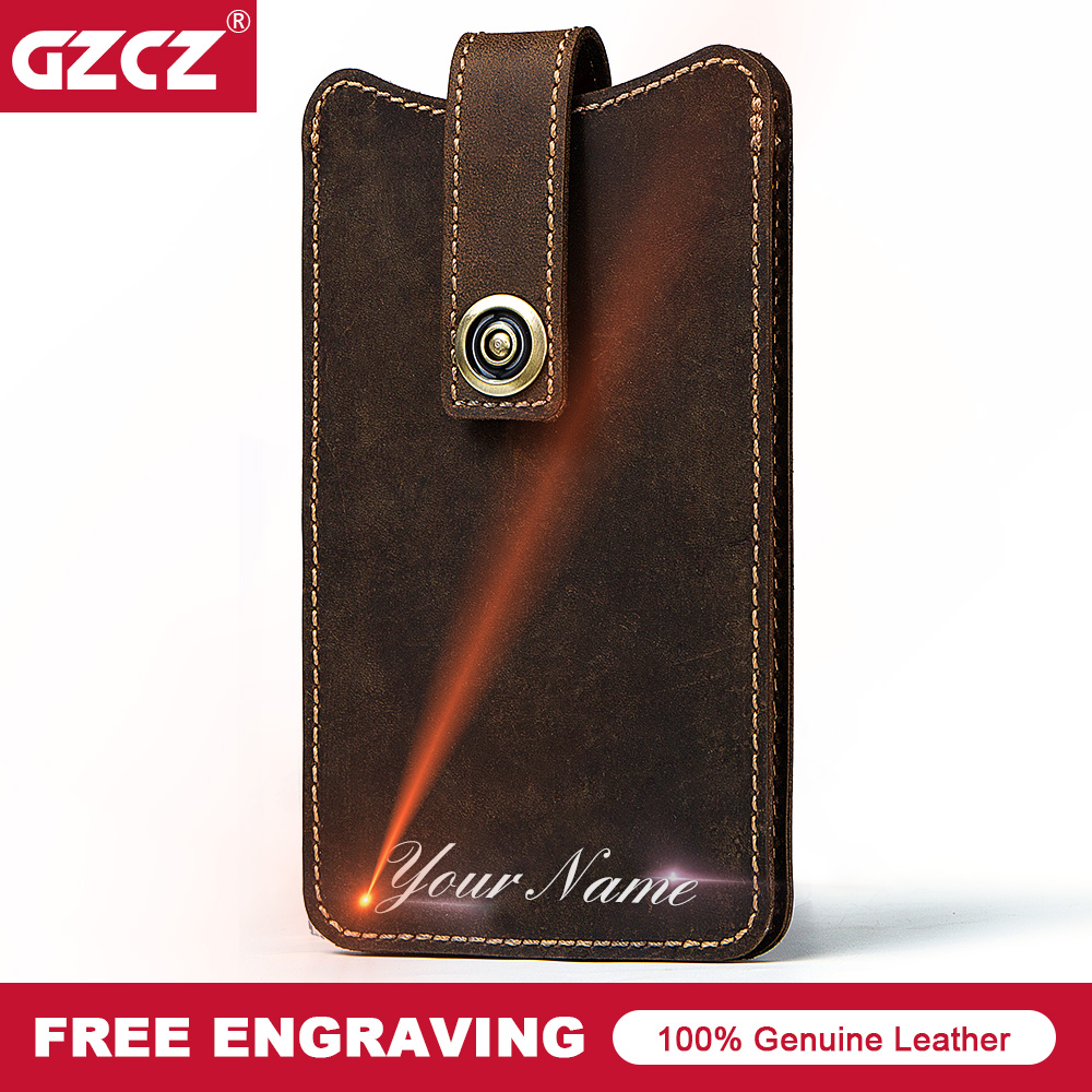 GZCZ Cowhide Leather Men Wallet Cell Phone Pocket Male Purse England Style Long Wallet PORTFOLIO MAN Portomonee Free Engrave