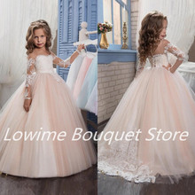 2017 New Hot Cheap Flower Girls Dresses for Wedding Party Ball Gown Tulle Appliques Long Sleeves Children Pageant Gowns