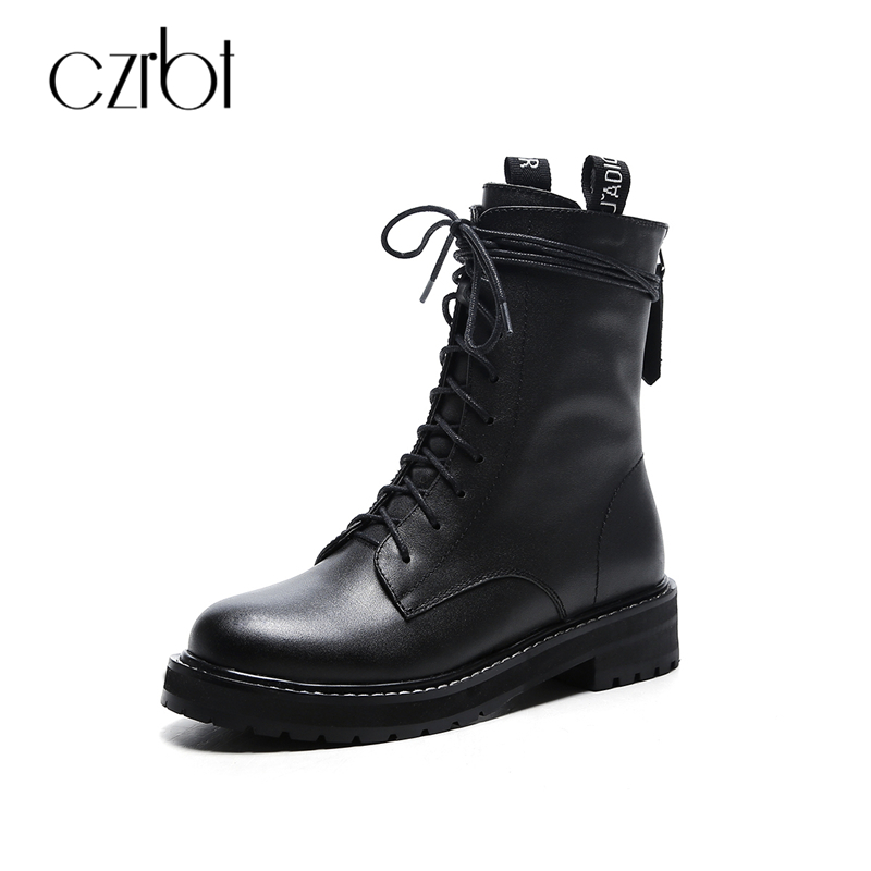 CZRBT Genuine Cow Leather Women Boots Fashion Cross-tied Wedges Heel Cross-tied Boots Women Autumn Winter Black Motorcycle Boots