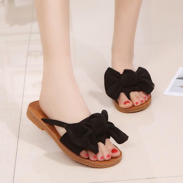 Chanclas a la moda de Color dulce pajarita Sandalias de tacón plano tamaño 35-40 zapatillas de playa al aire libre zapatos para zapatilla de lazo para mujer