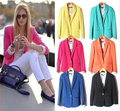 SZ015 ZA Womens Tunic Foldable Sleeve Blazer Jacket Candy Color Femal Suit One Button Cardigan Coat