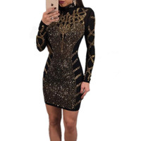 Fashion Rhinestone Diamonds Embellished Slim Bodycon Dress Women Turtleneck Long Sleeve Perspective Party Nightclub Mini Dress