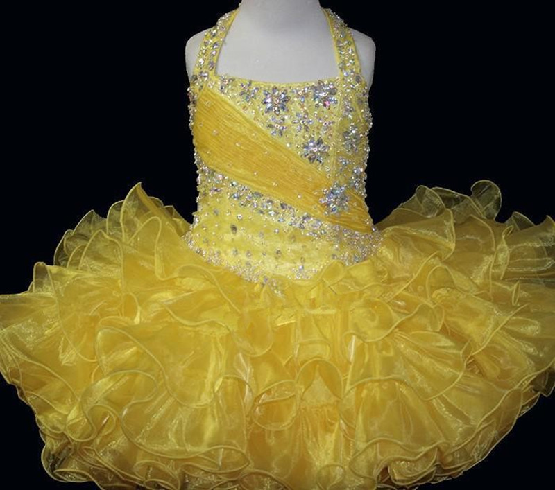 Cupcakes Kids Baby Dress Mini Short Infant Toddler Wedding Ball Gown Crystal Flower Girl Dress Sequins Beading Pageant Dress