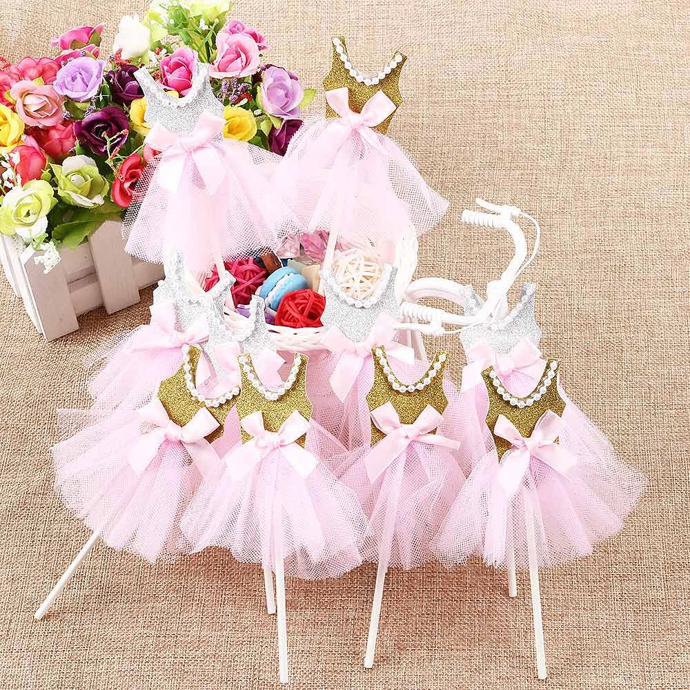 3 pcs/lot ballet girl dress birthday cake topper cupcake decoration ...