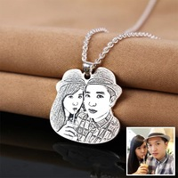 Personalized Custom Photo Necklace Pendants Customized 925 Sterling Silver Necklaces for Women Men Jewelry Memorial Gift
