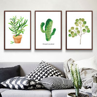 Unframed 3 Panel Green Plants Poster Indie Pop Canvas Painting For Living Room Wall Picutre Art