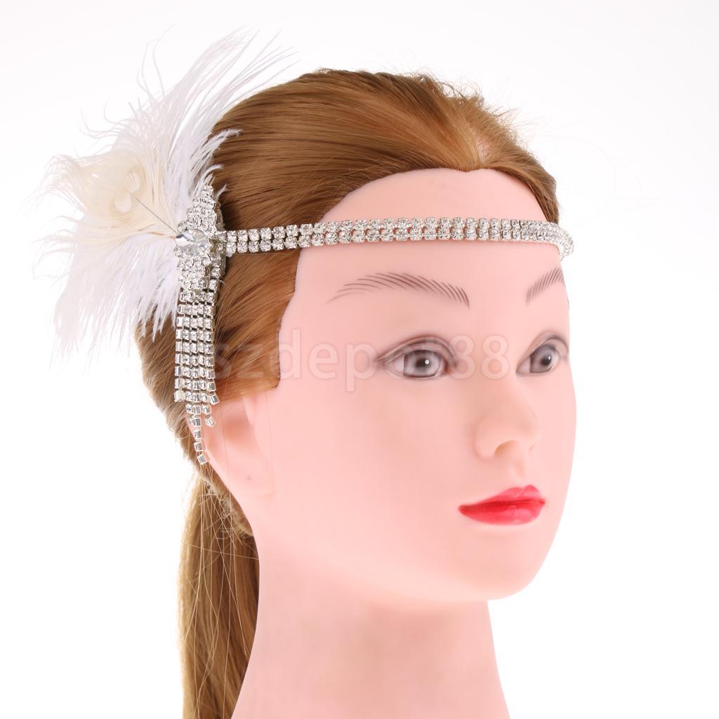 Vintage Rhinestone White Headband Wedding Headpiece Flapper Dress Up headpiece