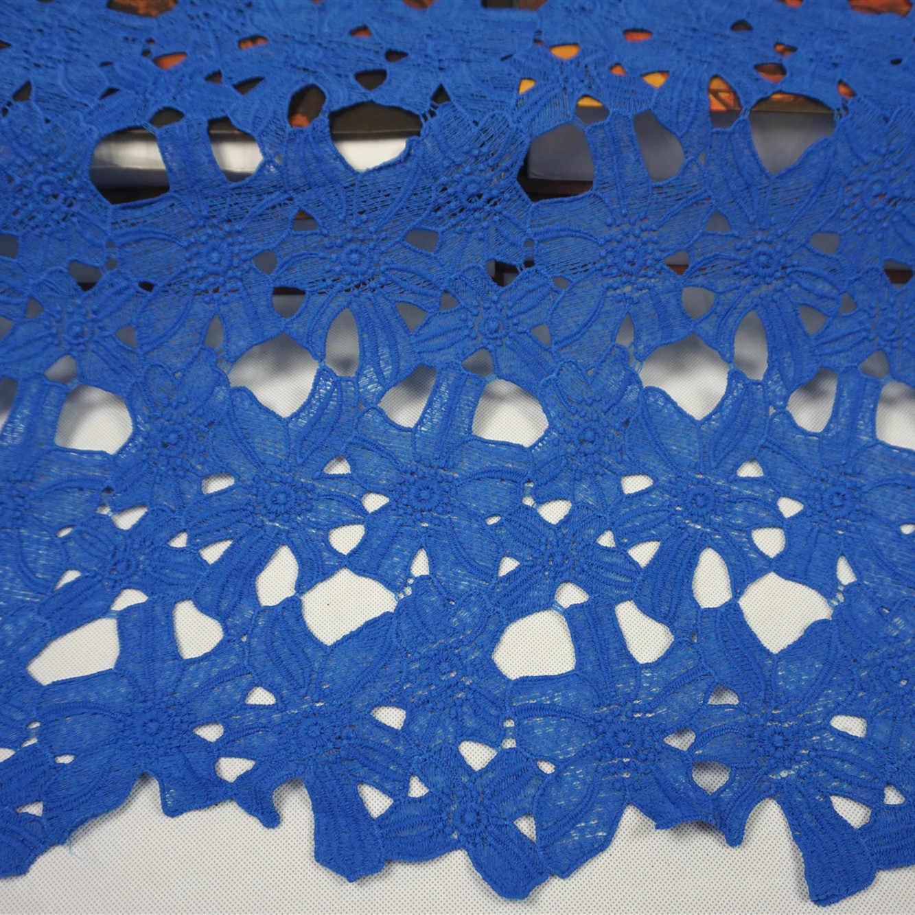 2 metros folha tecidos de renda nigeriano para o vestido de casamento rosa africano cabo rendas tecidos vermelho azul francês guipure material de costura do laço