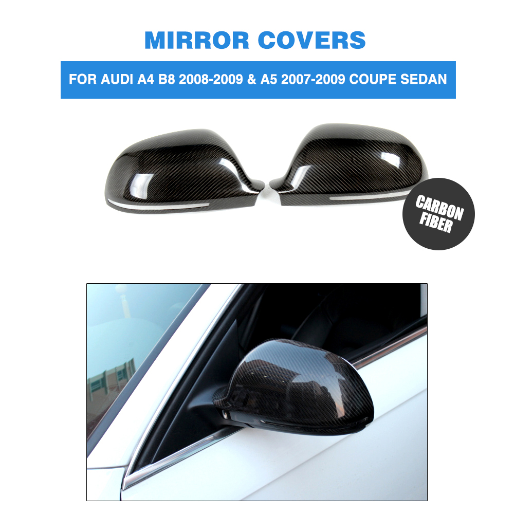 carbon fiber Add on style side mirror covers for Audi A4 B8 08-09 A5 07-09 rearview mirror Caps without side assist Car styling f10 side wing rearview mirror cover caps for bmw sedan 11 13 carbon fiber
