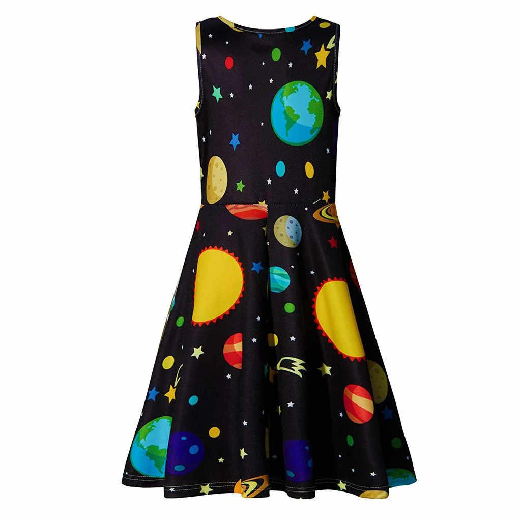 Huang Neeky W #4 2019 г. Новое модное Повседневное платье без рукавов для девочек-подростков, с принтом «Планеты» сарафан для школьной вечеринки, летняя одежда