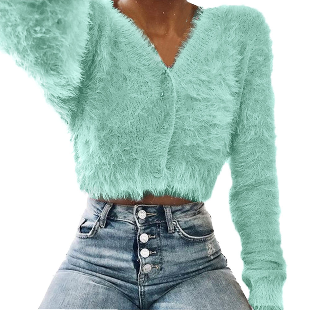 Warm Sweater Cropped Pullover V-Neck Long-Sleeve Furry Sexy Winter Women Ladies Solid-Color