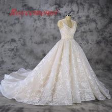 Vestido de Noiva baru renda bola gaun gaun pengantin mewah Champagne dan Gading wedding gown custom made pabrik harga grosir