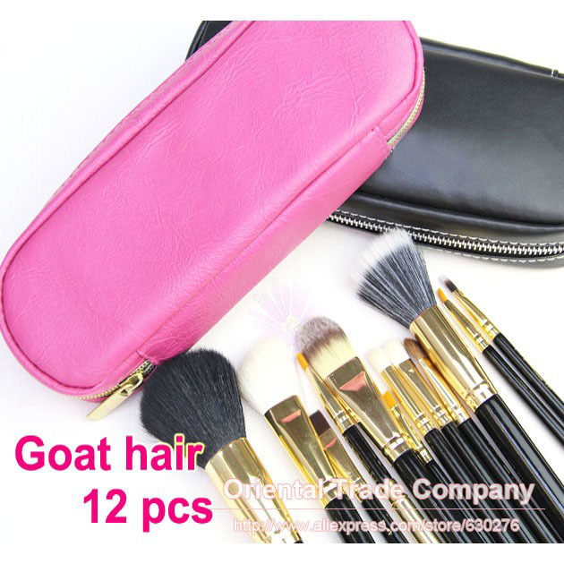Professional 12pcs Face Makeup Brush Set with Rose Pink Zipper Leather Bag Make Up Brushes Free Shipping Wholesale недорого