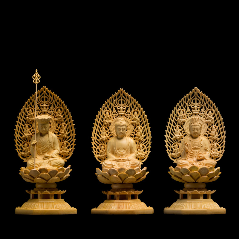 Japan Carving Buddha Statue Goddess Western Trinity Solid Wood Craft Feng Shui Decoration  Buda Statues For Home Decor