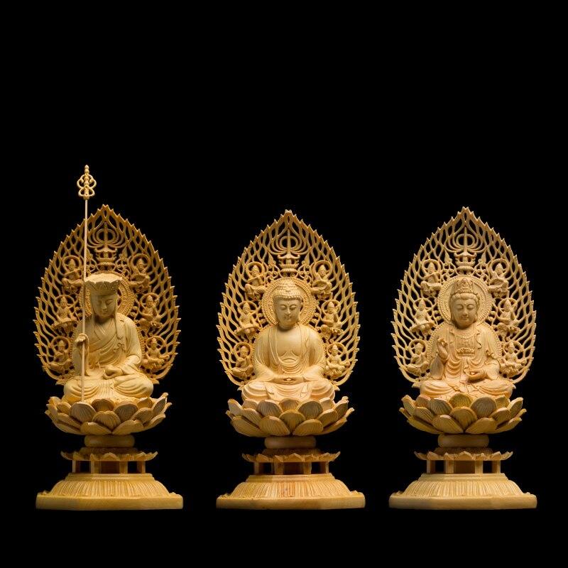 Japon sculpture Bouddha statue Déesse Trinity Western en bois massif artisanat Feng shui Décoration bois buda statues pour la décoration intérieure