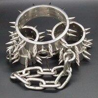Шипами ведомого Воротник лодыжки наручники нержавеющая сталь БДСМ Связывание набор Секс игрушки для пар игры для взрослых ограничения нар
