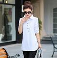 Весна осень новый белый рукавами рубашки женские Корейский большой ярдов длинный весна все матч дна блузка