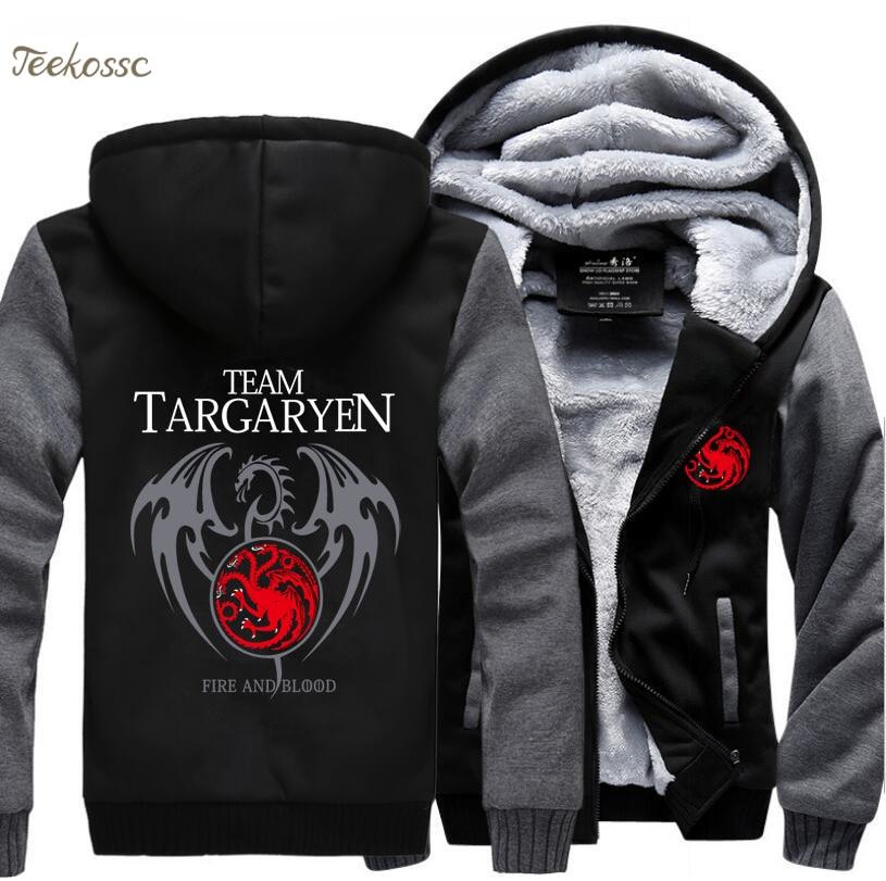 Game of Thrones Hoodies Men Targaryen Fire Blood Dragon Sweatshirt 2018 Winter Thick Warm Zipper Brand Hoodie Streetwear Hip Hop