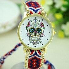 New Fashion Women Skull Pattern Weaved Rope Fabric Band Bracelet Quartz Dial Watch Relojes Mujer 2016 Female Clock Gift#77