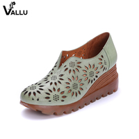 Pumps Female Wedges Shoes Genuine Leather Hollow Out Women High Heel Shoes Handmade Fretwork Slip On Footwear Lady Leisure Shoes