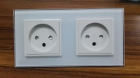 EU Standard Israel Power Socket White Crystal Glass Panel AC 100 250V 16A LIVOLO Socket VL