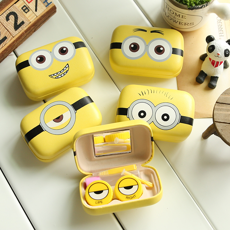 1pc Minions Cartoon Contact Lens Case For Women Leather Hard Contact Lenses Box Cute Eyeglass Case Lens Container Christmas Gift