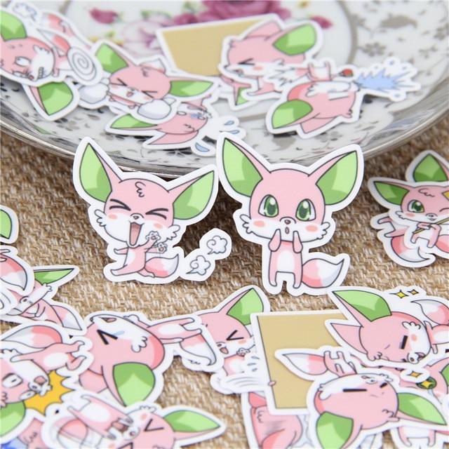40 piezas pegatina niños papel diario lindo verde oreja zorro Scrapbooking pegatinas decorativas Diy para niños juguetes clásicos