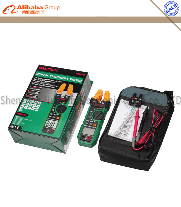 1pcs Mastech MS2601 Digital AC/DC Fork Meter 12mm Voltage Current Resistance Diodes Continuity Frequency Duty Cycle Temperature nc dc dc dc adjustable voltage regulator module integrated voltage meter 8a voltage stabilized power supply