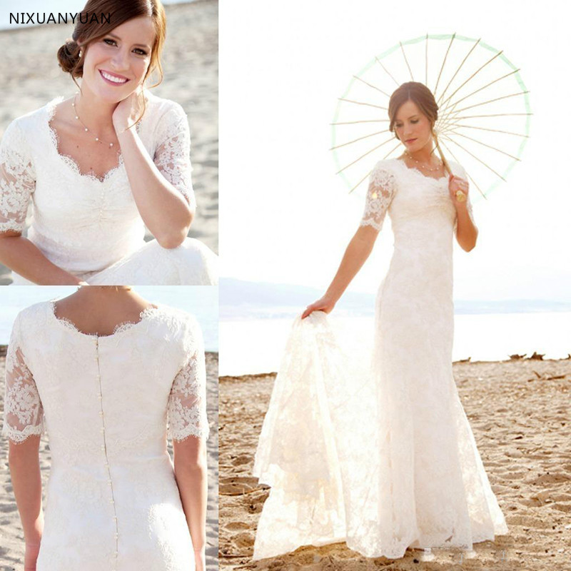 Modest Short Sleeves Wedding Dresses With Pearls For Beach Garden Elegant Mermaid Brides Dress Cheap Lace Country Bridal Gowns