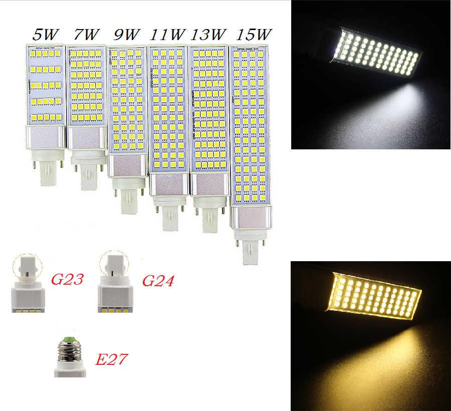 Lampada G23 G24 E27 5 w 7 w 9 w 11 w 13 w 15 w 85 v-265 v/AC אופקית Plug מנורת SMD5050 Bombillas LED PL תירס הנורה ספוט אור CE RoHS