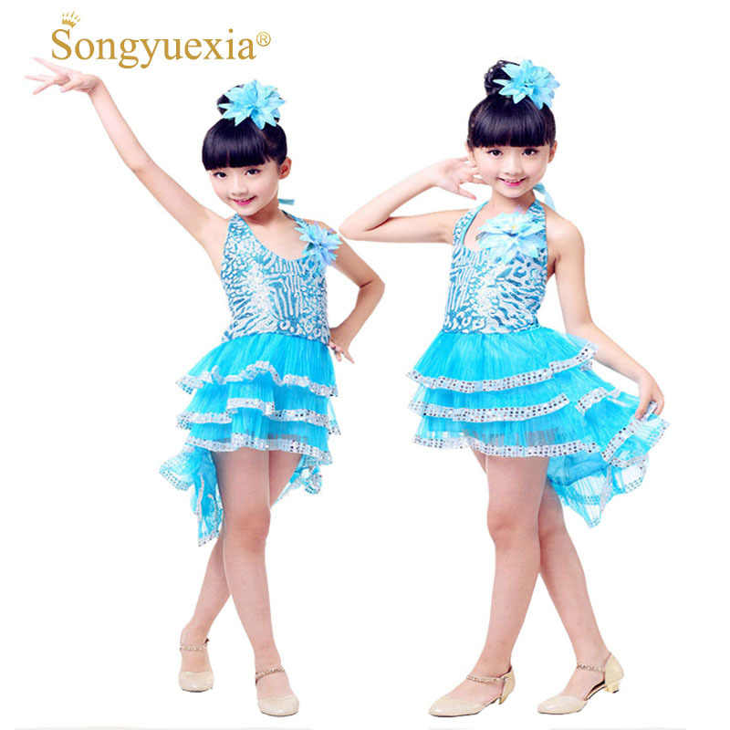 cccbe7f37 Detail Feedback Questions about Children Modern Dance dress Paillette kid  latin dance dress sequins stage dance Skirt Performance costumes Girl  Coattail on ...