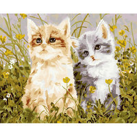 Two Cute Cats Frameless Picture On Wall Acrylic Painting By Numbers Abstract Drawing By Numbers Unique